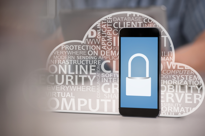 Smart phone depicting cloud computing technology concepts